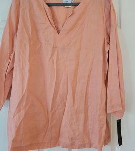 Hot Cotton Womens Lagenlook Linen Peach Tunic Top